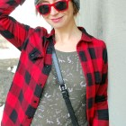 fox waffle shirt camo buffalo plaid pompom beanie flannel red olive ootd whatiwore2day