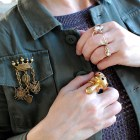 mushroom antler cameo pearl ring faux military medal brooch ootd whatiwore2day