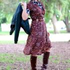 layer dress pattern mix floral gingham black brown ootd whatiwore2day daily outfit