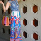 stripes floral maxi skirt pattern mix denim vest ootd whatiwore2day
