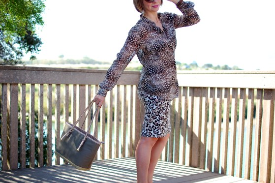 business casual leopard print mix feather daily outfit blog ootd whatiwore2day