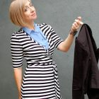 business casual blazer stripe wrap dress daily outfit blogger ootd whatiwore2day