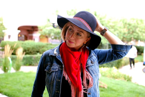 hipster hat piano fringe scarf denim jacket ootd daily outfit blog whatiwore2day
