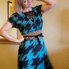 houndstooth leopard pattern mix obi belt turquoise daily outfit blog ootd whatiwore2day