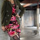 floral bandage dress olive military blazer darth vader tights daily outfit blog ootd whatiwore2day