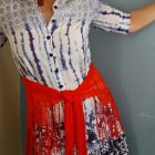 orange flamenco scarf blue and white dress daily outfit blog ootd whatiwore2day