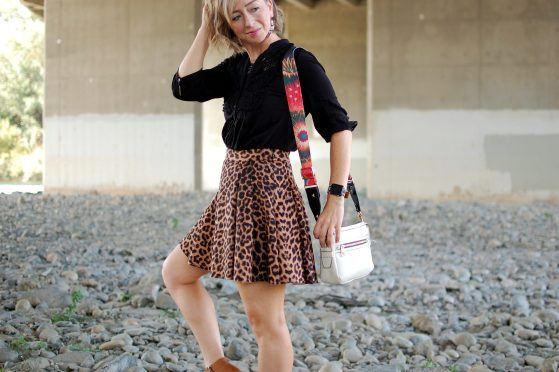 leopard circle scuba skirt guitar strap bag daily outfit blog ootd whatiwore2day