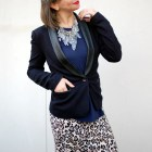 black and navy crystal chandelier necklace daily outfit blog ootd whatiwore2day