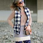 buffalo plaid navy down vest striped sweater tunic daily outfit blog whatiwore2day ootd