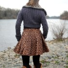 leopard circle skirt faux fur collar cardigan daily outfit blog ootd whatiwore2day