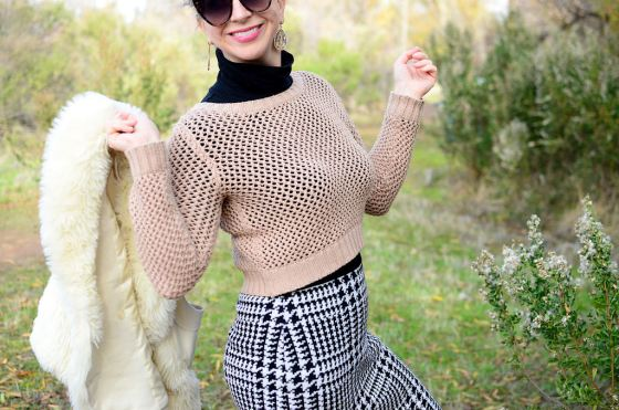 black and white houndstooth skirt blush cropped sweater black turtleneck daily outfit blog ootd whatiwore2day