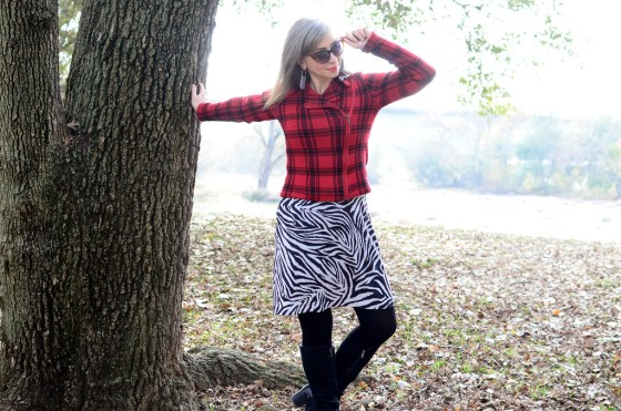 plaid sweater zebra dress daily outfit blog ootd whatiwore2day