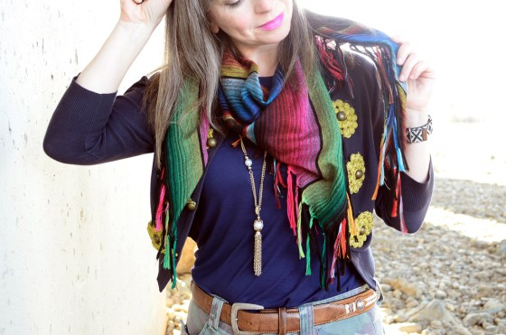 over forty daily outfit blog serape scarf military inspired ootd whatiwore2day