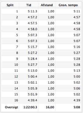 16 kilometer med pace 5:08 og en afslutning med pace 4:39 kan jeg vist kun være tilfreds med.