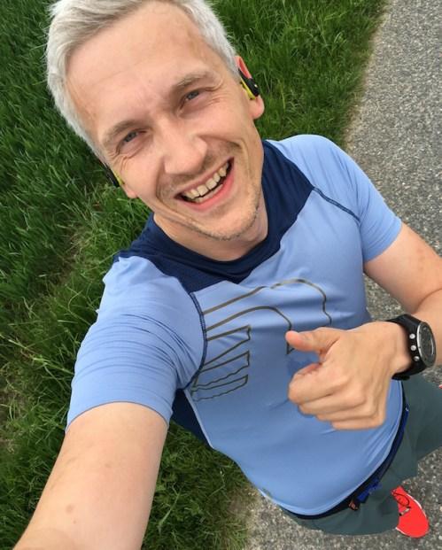En glad mand efter 5 kilometer uden smerter