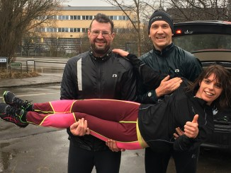 3 glade løbere efter at Brabrandstien+ var besejret. Og så i regnvejr.