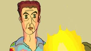 Kasper staart naar de vlammen in 'De neven gaan naar het Oosten'.