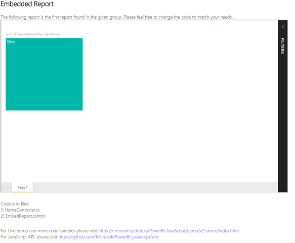 Embed your Power BI report with predefined filters