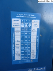 Autobahn Marokko-Preisliste
