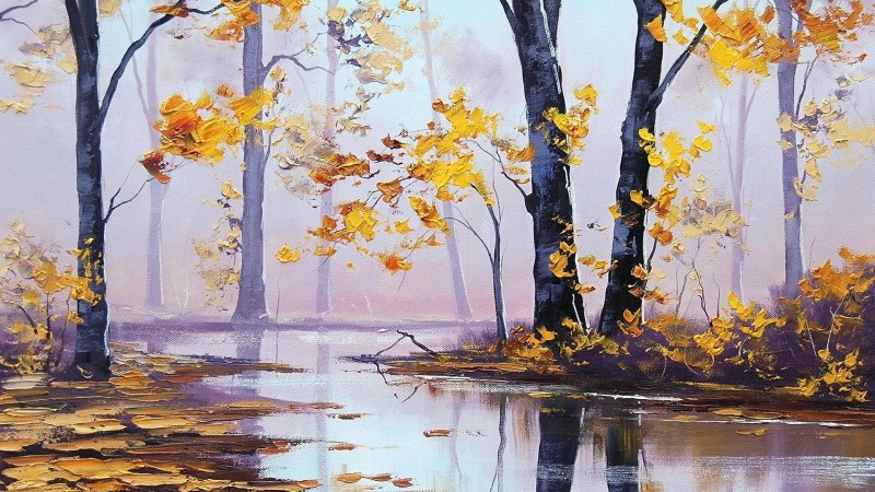 Silent Autumn By Tel Ki Chitrakariyan, Oil Painting