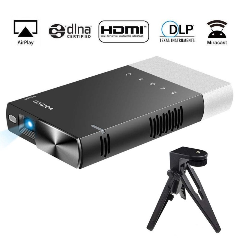 Vamvo Ultra Mini Portable Projector 1080p HD LED Rechargeable Pico Projector with HDMI, USB, TF, and Micro SD Supports iPhone Android Laptop PC Audio Projectors for Outdoor Travelling Business Games