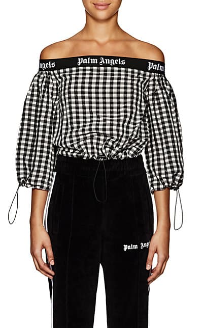Palm Angels Logo Gingham Off-The-Shoulder Top