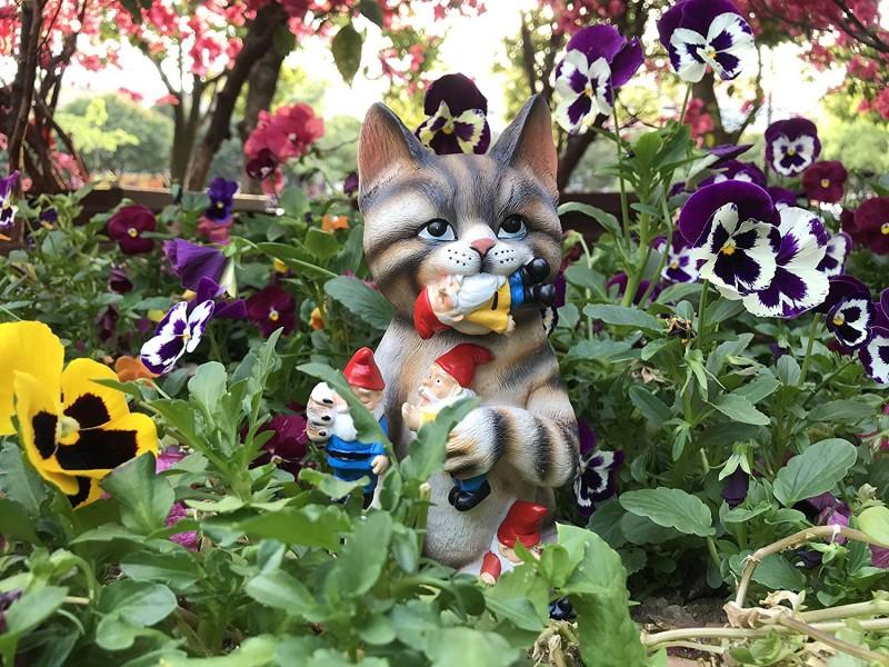 By Mark & Margot - Mischievous Cat Garden Gnome Statue Figurine - Best Art Decor for Indoor Outdoor Home Or Office