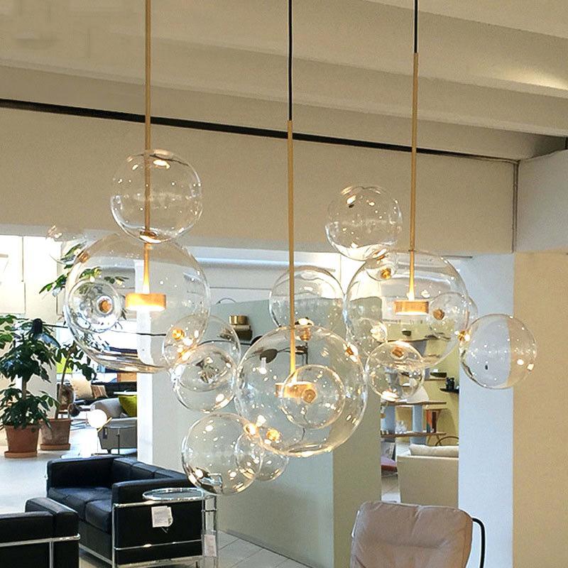 Siljoy Modern Rectangular Bubble Glass Chandelier Lighting