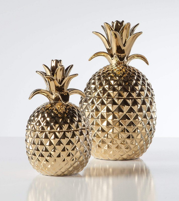 Torre & Tagus 902523A Pineapple Ceramic Canister, Short, Gold