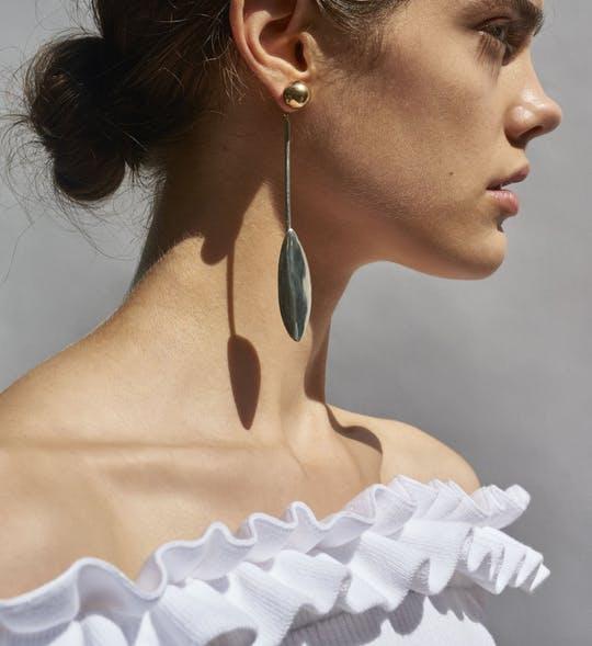 Elongated Leaf Earring Set By Bing Bang Jewelry