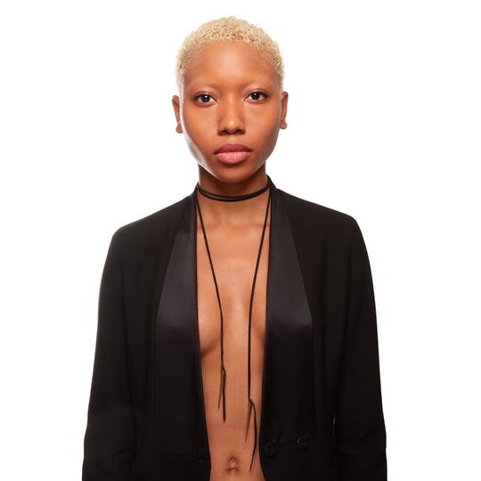 Leather Lariat with Telson Drops in Brass by Killer Collection