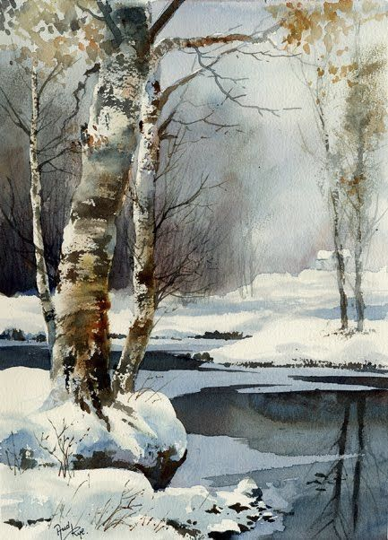 The First Snowfall By Aud Rye, Watercolor Painting