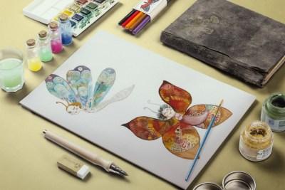 Akvarell illusztráció lepkék