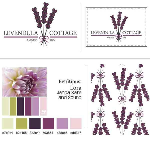 Levendula Cottage arculati tábla: rajta pecsét, Levendula Cottage másodlagos logó, Levendula Cottage tavaszi virágos, retro, letisztult, levendula szín, nőies logó kisvállalkozásoknak. Kozmetika, natur termékek, virágüzlet, illóolaj, parfume, vendéglátás, lakásétterem, kézműves vállalkozás, lakberendező egyedivé teheti vele a vállalkozását.