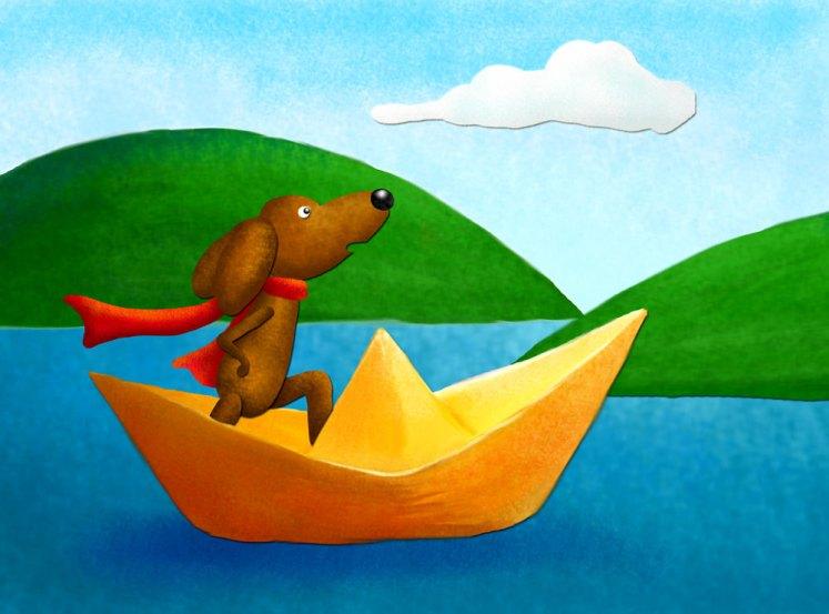 Pies w Papierowej Łódeczce na Jeziorze