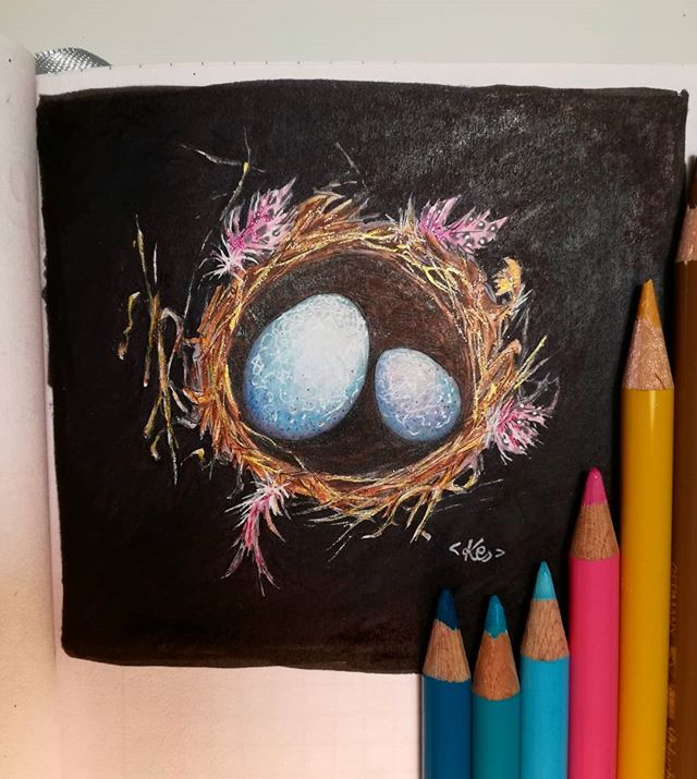 Instagram - Nest from a sketchnook #nest #sketch #drawing #rysunek #szkicownik #kredki #markery #copic #crayons #illustration #eastereggs #eggs #illustratorsofinstagram #sketchnearlyeveryday