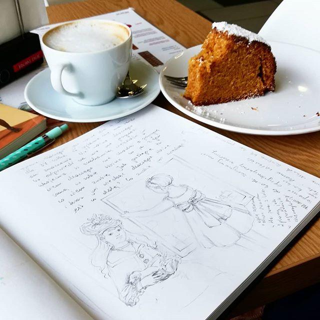 Instagram - Młody śmiga na basenie, a ja czekam i naśladuję Moneta#monet #drawing #art #szkic #szkicownik #sketchbook #inspiration #impresionism #coffy #cake #coffeebreak