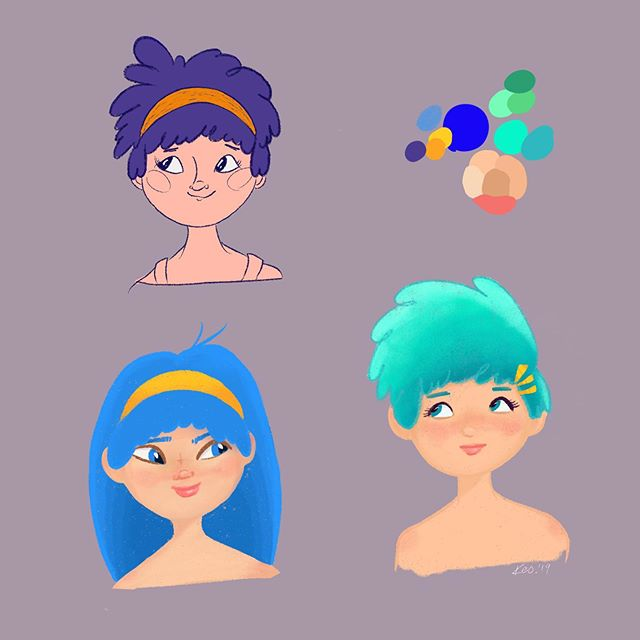 Instagram - New #characterdesign for new projekt ;) #differentstyle #procreate #drawing #sketches #portret #people #girls #doddle #instaart