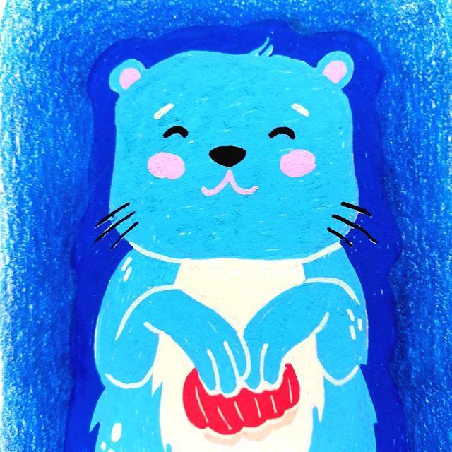 Instagram - Nowe zabawki czyli #poscaBardzo przyjemne medium chociaż nie wiem jak sprawić żeby wyszła gładka jednolita powierzchnia. Pewnie to kwestia wprawy. Na razie #wydra na początek.#niebieskomi #bluemood #illustrationinstagram #poscaillustration #siedzęwdomu #selfisolationart #cuteanimals #moreillustrations #doodles #childrensillustration #kidlitart #sketchbook