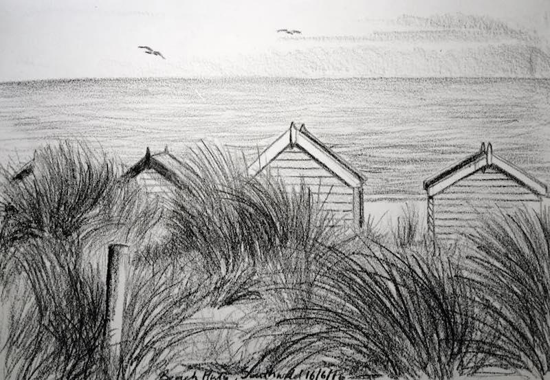 Southwold beach huts sketch 168