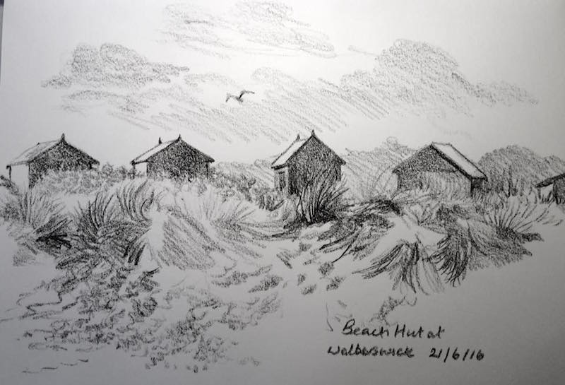 Walberswick beachhuts sketch 173