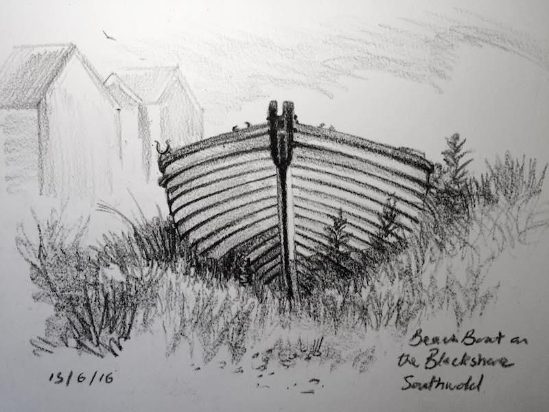 beach boat on the blackshore sketch 167