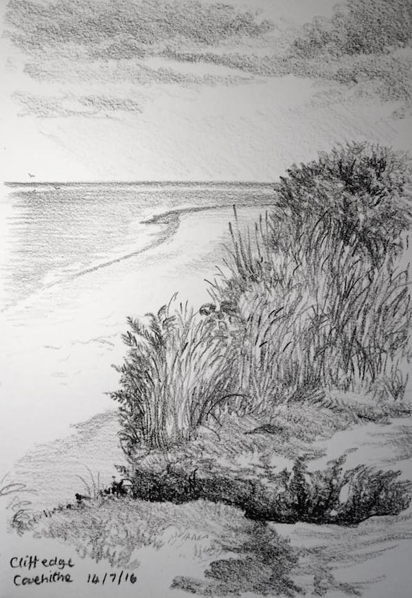 Covehithe cliff sketch 196