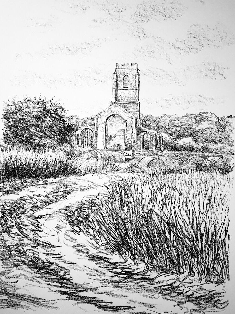 Covehithe church and farmland