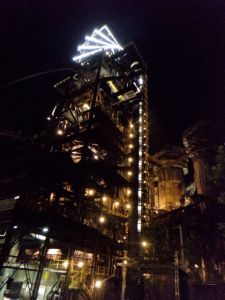 bolt tower dolni vitkovice at night colours of ostrava