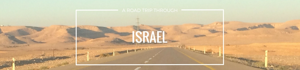 road trip through israel desert rental car driving orange sky endless road