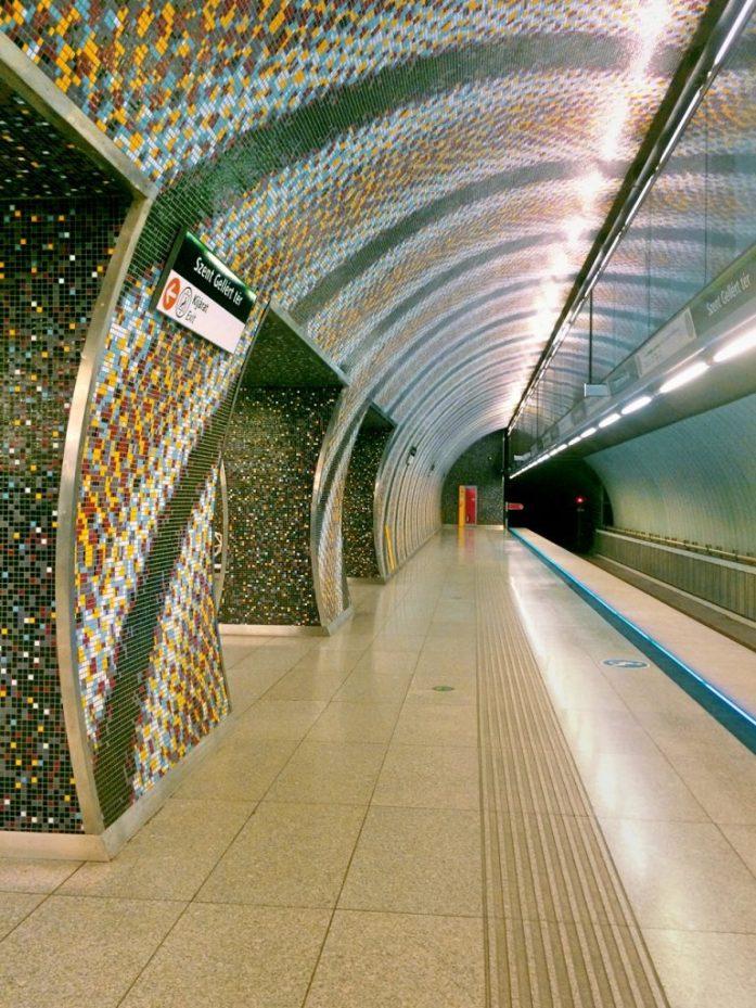 szent gellert ter metro stop underground M4 Budapest public transport public sphere architecture station mosaic tunnel subway