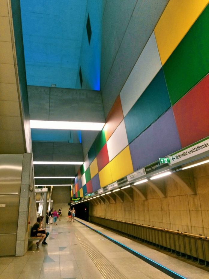 moricz zsigmond korter metro stop underground M4 Budapest public transport public sphere architecture station colourful tunnel subway colours
