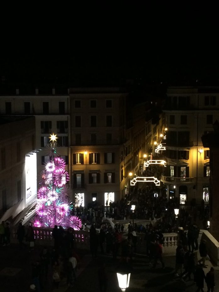 View at night from the Spanish steps dark christmas tree