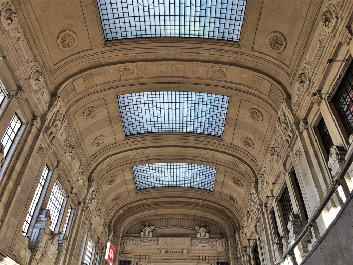 Milano Centrale train station view hall ceiling vitrage